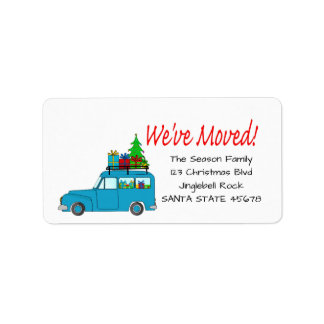 We've Moved Car, tree and gifts Christmas label Address Label