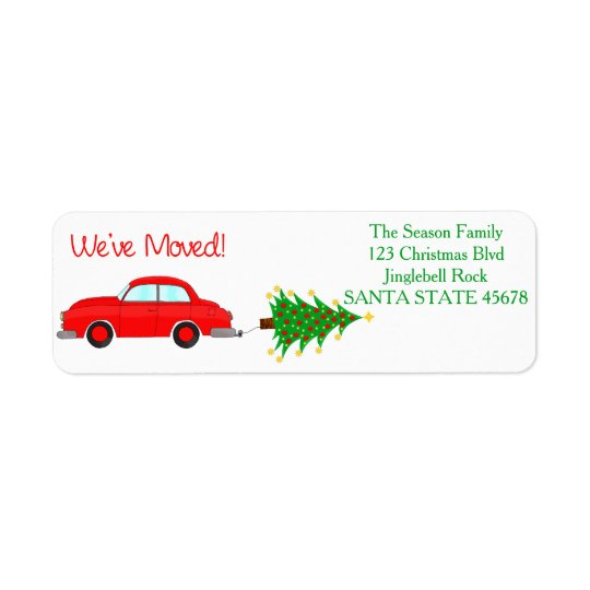 We've Moved Car, tree and gifts Christmas label Return Address Label