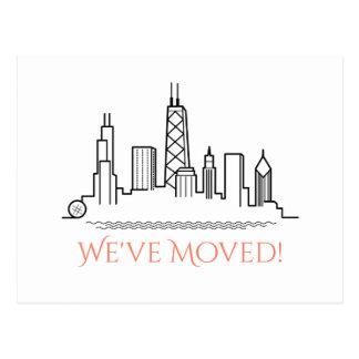 We've Moved Chicago City Skyline Postcard