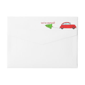 We've Moved Christmas car towing tree Wrap Around Label