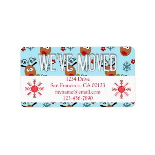 """We've Moved"" Christmas Reindeer Label"