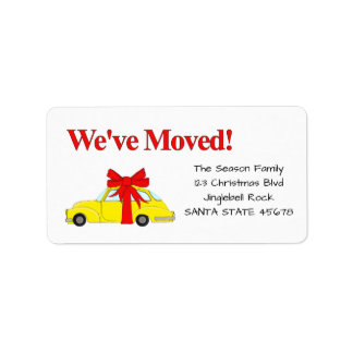 We've Moved Christmas yellow car Address Label