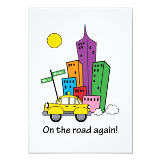 We've Moved Cityscape Yellow 5x7 Card 13 Cm X 18 Cm Invitation Card