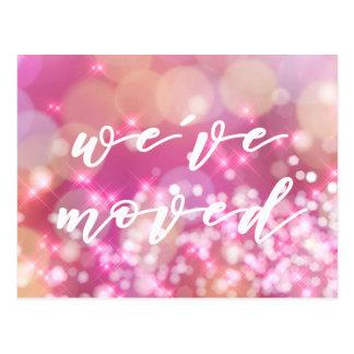 We've moved   Glamorous Pink Sparkles Postcard