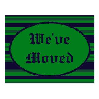We've Moved green blue stripes Postcard