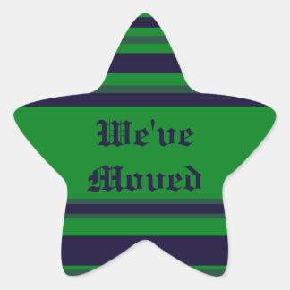 We've Moved green blue stripes Star Sticker