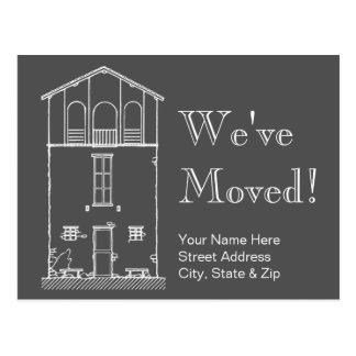 We've Moved Grey and White Chalkboard  New Address Postcard