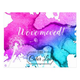 We've moved Modern Watercolor Salon New Address Postcard