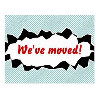 We've moved moving postcards | ripped paper