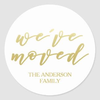 We've moved | Personalized Gold script Classic Round Sticker