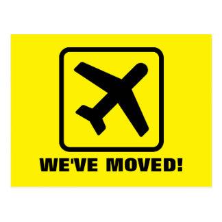 We've moved plane moving postcards for new address