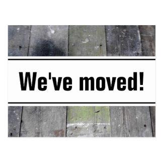 We've moved postcards | wooden floor panel image