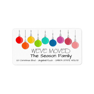 We've Moved Rainbow Christmas baubles Label