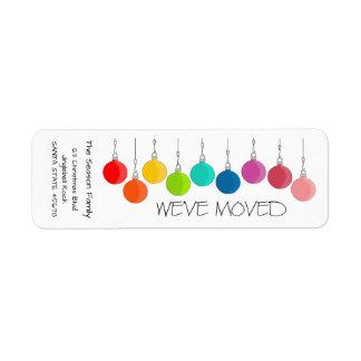We've Moved Rainbow Christmas baubles Return Address Label