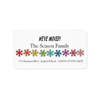 We've Moved Rainbow snowflakes Label