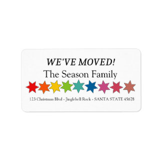We've Moved Rainbow stars holiday label