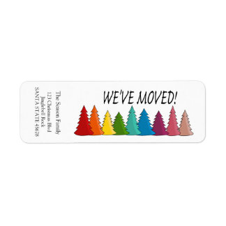 We've Moved Rainbow trees holiday label