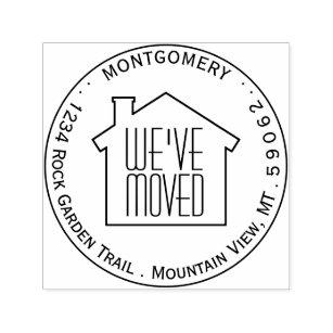 Weve Moved Round Logo Circle Name Return Address Self Inking Stamp