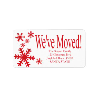 We've Moved snowflake holiday Label Address Label