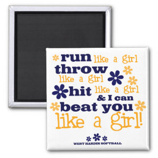 WH Softball Like A Girl Square Magnet