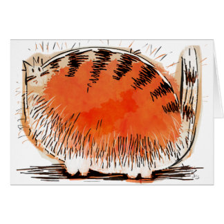 whacky orange cartoon cat card
