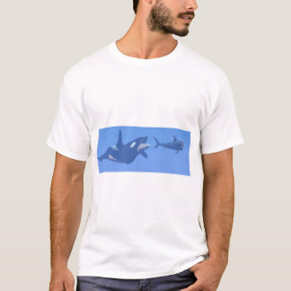 Whale and megalodon underwater - 3D render T-Shirt