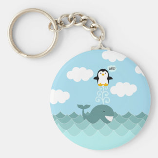 Whale and Penguin Best of Friends Basic Round Button Key Ring