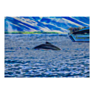 Whale & Boat, Maui Hawaii, Pacific Ocean Poster