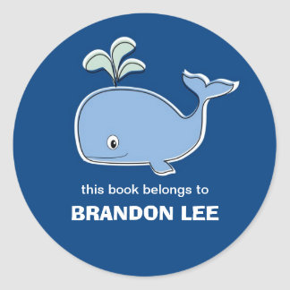 Whale Bookplates, BB Classic Round Sticker
