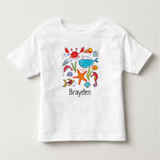 Whale Crab Fish Seahorse Ocean Personalized Baby Toddler T-Shirt