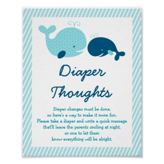 Whale Diaper Thoughts Sign Poster