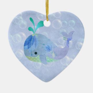 Whale Fish Baby Boy Birth Announcement Heart Ceramic Ornament