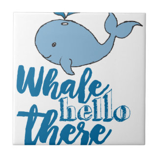 Whale Hello There Small Square Tile