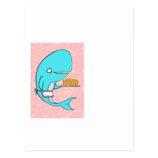 Whale homemaker mother with krill cake postcard