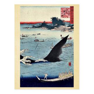 Whale hunting in Hizen by Utagawa,Hiroshige Postcard