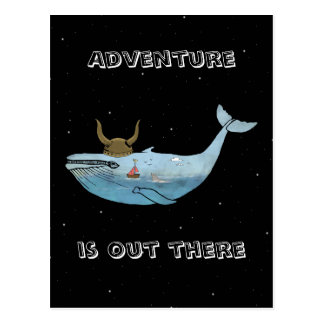Whale illustration postcard