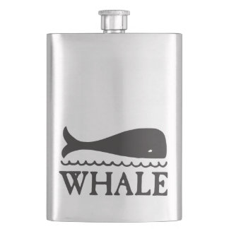 Whale Illustration with Text Hip Flask