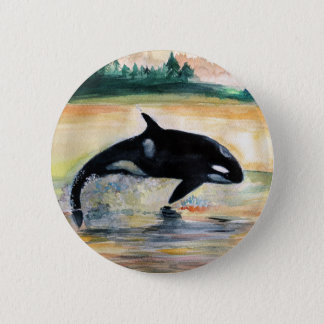 Whale in  Jump Wild  Orca Round Badge