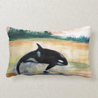 Whale Jumping Orca Lumbar Pillow 33 cm x 53 cm