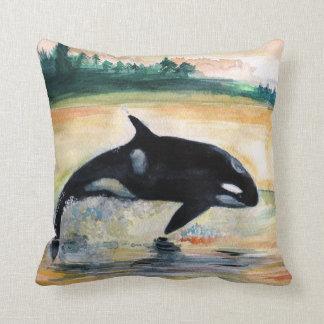 Whale Jumping Orca Throw Cushion 41 cm x 41 cm