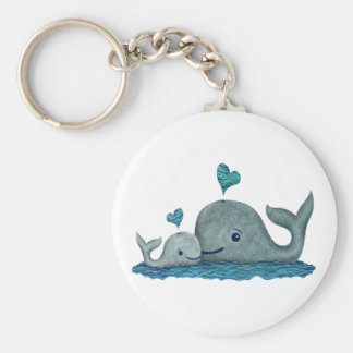 Whale Mom and Baby Swimming in the Sea Key Ring