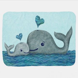 Whale Mom and Baby Swimming in the Sea Pramblankets