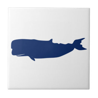Whale Navy Small Square Tile