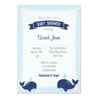 Whale Ocean Baby Shower Invitation Polkadot Blue