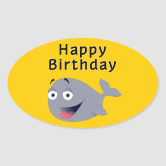 Whale of a Time - Happy Birthday Oval Sticker
