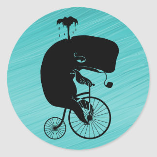 Whale on Vintage Bike Classic Round Sticker
