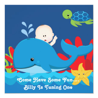 Whale One Year Old Birthday Party Invitation