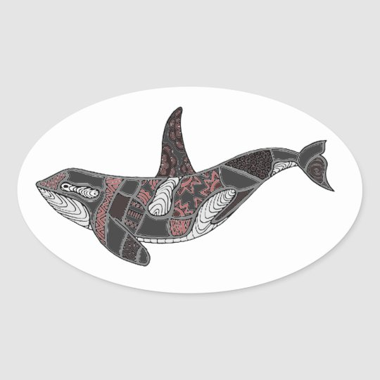Whale Oval Sticker