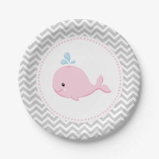 Whale Pink Grey Paper Plates