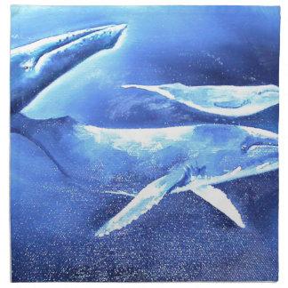 Whale Pod Blue Ocean Napkin